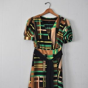 Retro Dress Art Deco Geometric Cap Sleeve